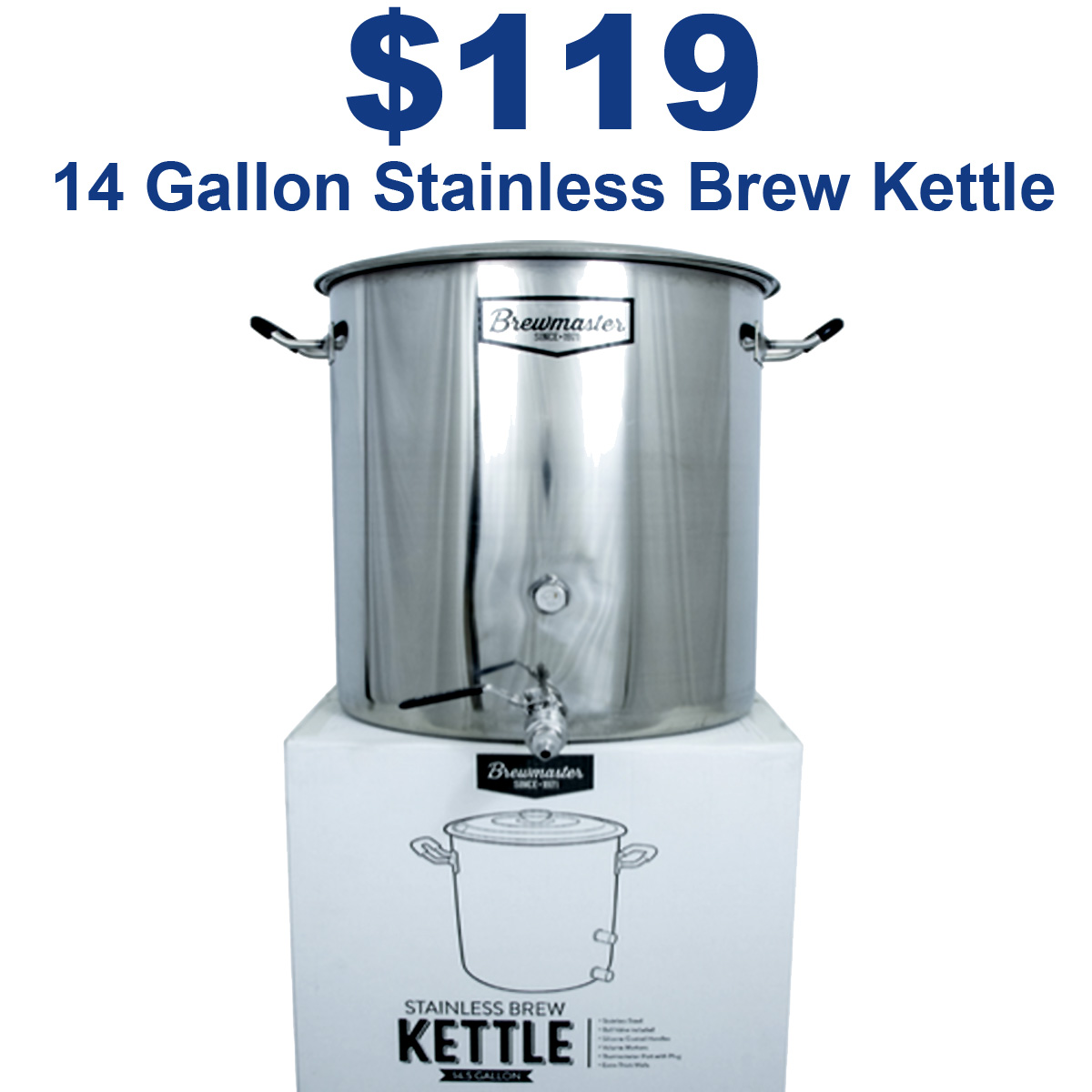 MoreBeer Just $119 for a 14 Gallon Brewmaster Stainless Steel Brew Kettle Coupon Code Coupon Code