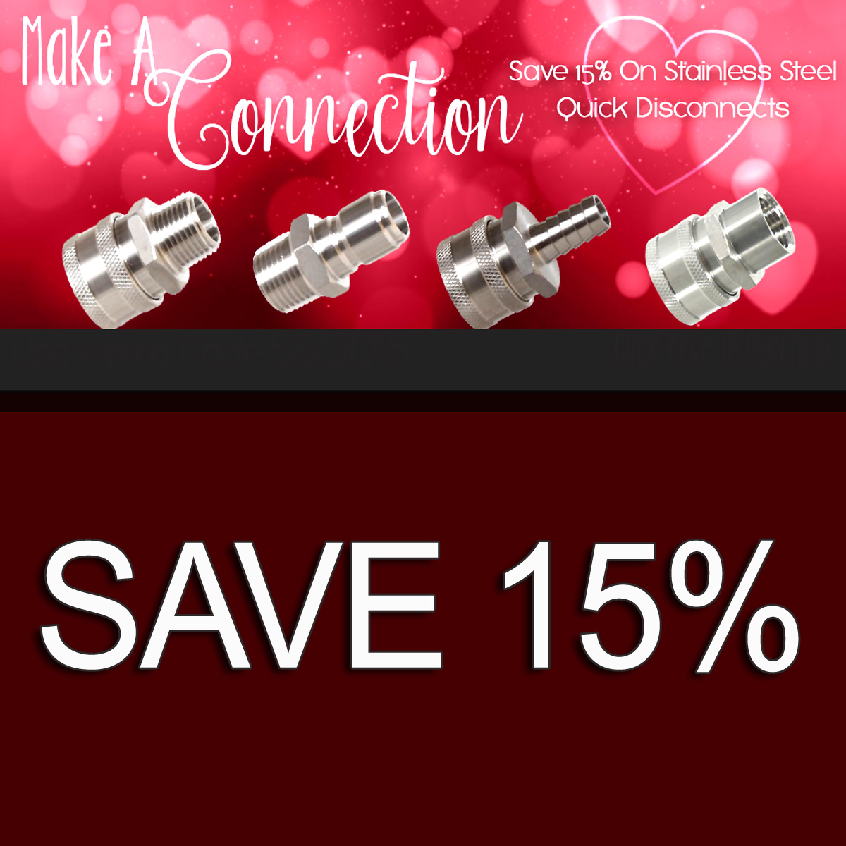 MoreBeer Save 15% On Stainless Steel Quick Disconnects and MoreBeer.com With Promo Code SSQD15 Coupon Code
