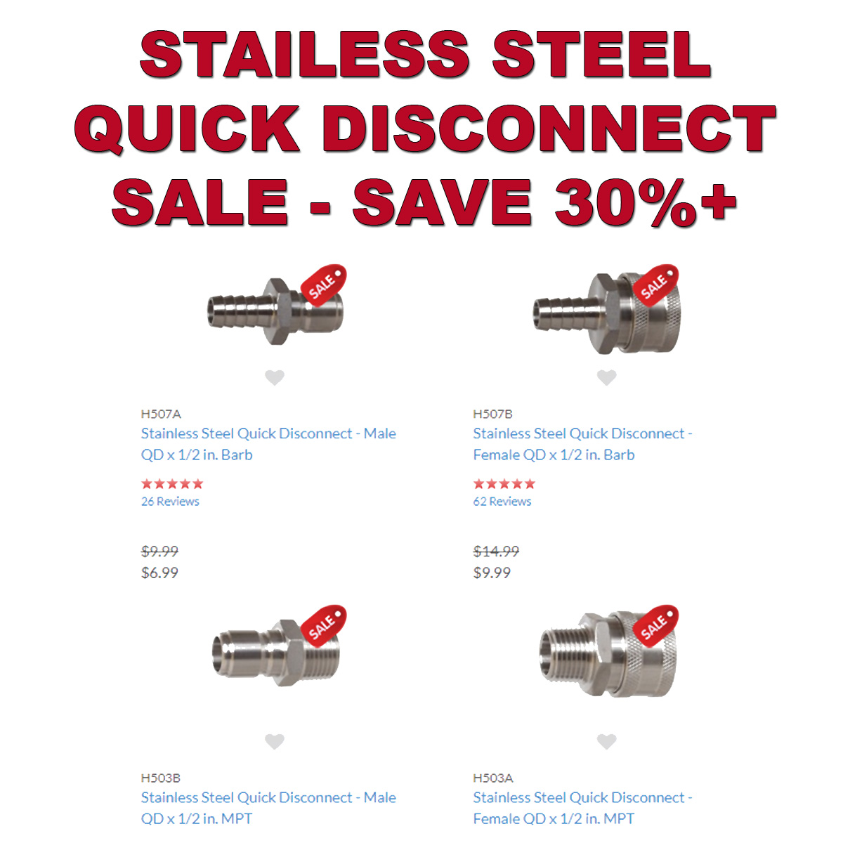 MoreBeer Save 30% On Stainless Steel Quick Disconnects With This MoreBeer.com Promo Code Coupon Code