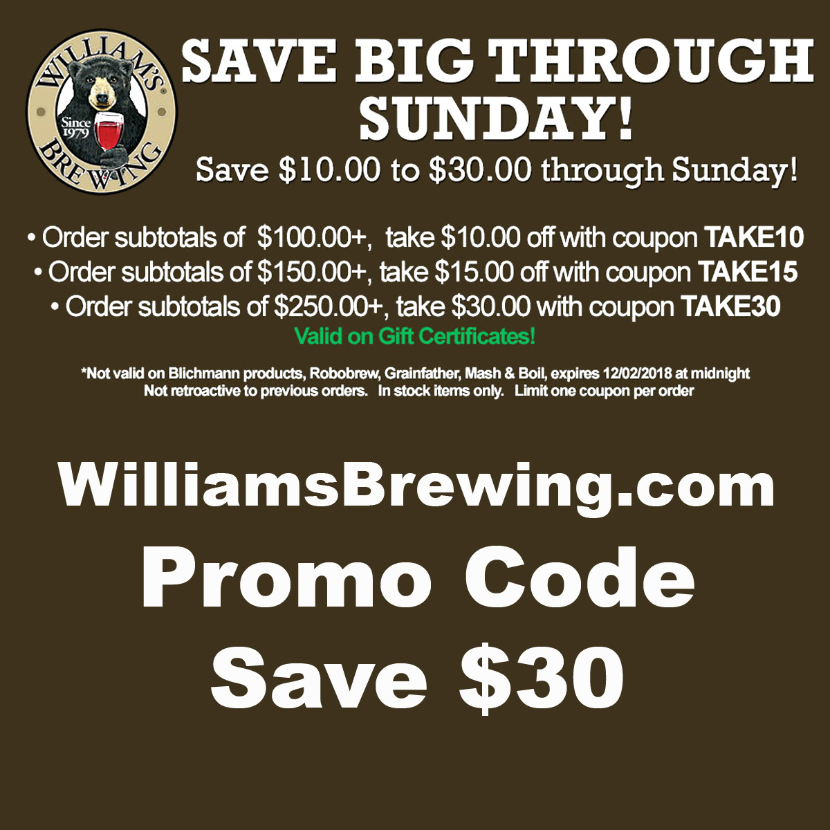 Williams Brewing Save Up To An Extra $30 At Williams Brewing With This WilliamsBrewing.com Promo Code Coupon Code