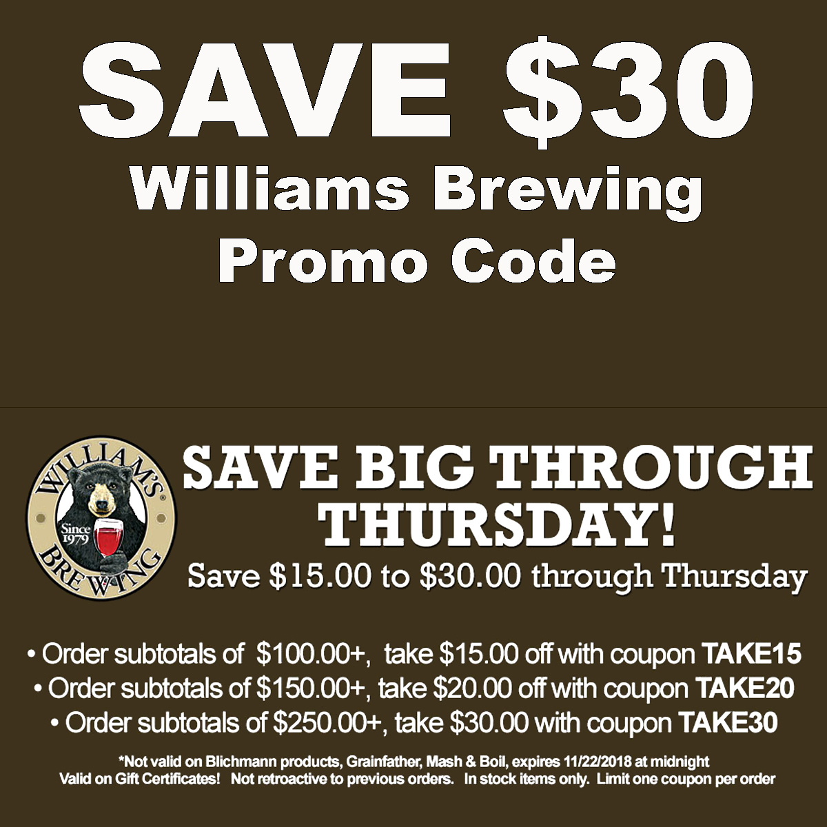 Williams Brewing Save $30 On Your Williams Brewing Purchase With These WilliamsBrewing.com Promo Codes Coupon Code