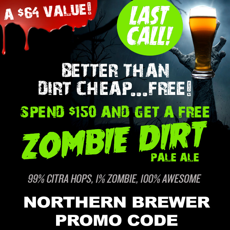 Get a Zombie Bust Clone Beer Kit with a $150+ Purchase Coupon Code