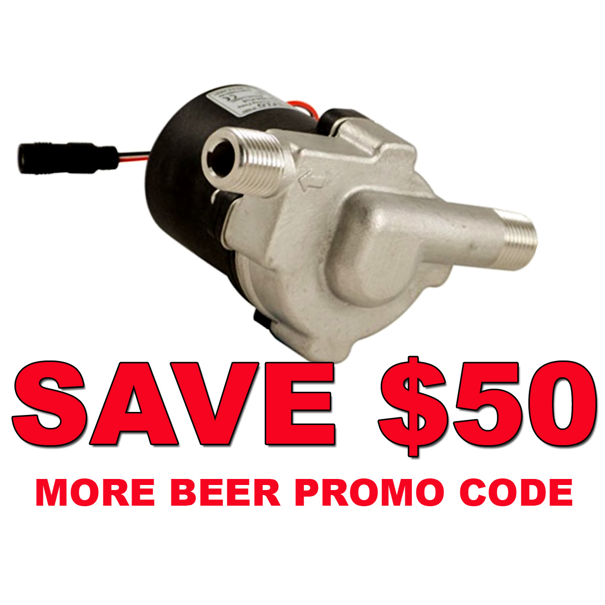 MoreBeer Save $50 On A New Stainless Steel Compact Transfer Pump and Get Free Shipping MoreBeer Promo Code Coupon Code